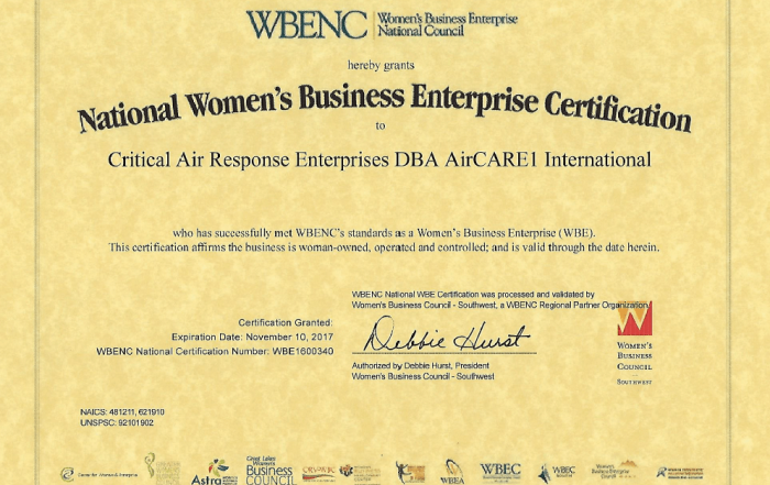 AirCARE1 International has been Certified as a Woman Owned Business by the Women's Business Enterprise National Council