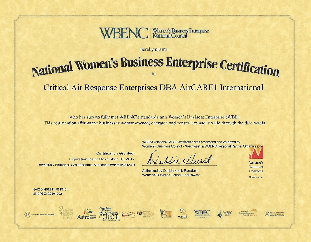 AirCARE1 AirCARE1 has been Certified as a Woman Owned Business by ...